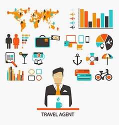 Travel agent infographic vector