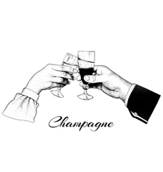 Two hands holding glasses of champagne vector image vector image