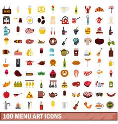 100 menu art icons set flat style vector image vector image