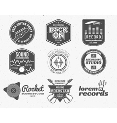 Set of music production logolabel sticker vector