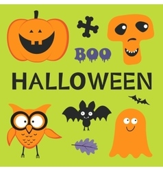 Fun Halloween set with pumpkin owl bat ghost vector image