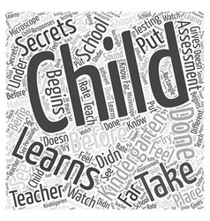 Kindergarten secrets word cloud concept vector