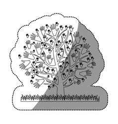 monochrome silhouette sticker of tree with leaves vector image
