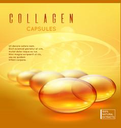 Gold pill vitamins gold gel collagen capsule vector