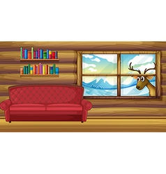 An empty sofa with bookshelves at the back vector