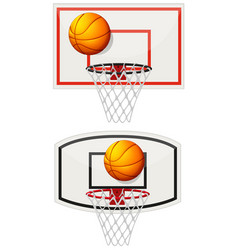 Basketball equipments with ball and net vector