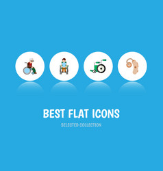 Flat icon handicapped set of equipment wheelchair vector