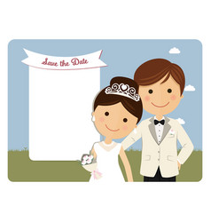 Princely style couple foreground for wedding vector