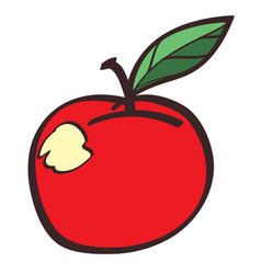 Red apple colored button with a black outline on vector