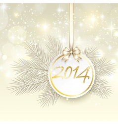 new year 2014 banner with ribbon and bow vector image