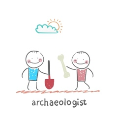 Archaeologist holding a shovel and another vector