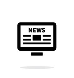 Online news desktop pc newspaper icon on white vector