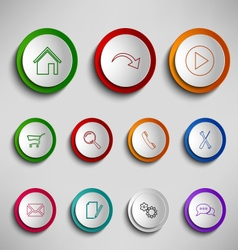 Round color buttons icons design template vector
