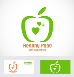 Organic green apple logo vector