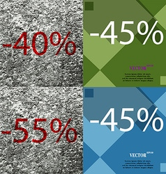 45 55 icon set of percent discount on abstract vector