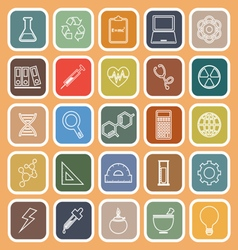 Science line flat icons on orange background vector