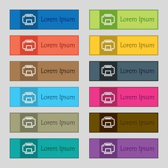 Printing icon sign set of twelve rectangular vector