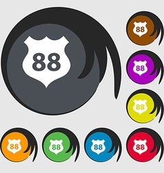 Route 88 highway icon sign symbols on eight vector