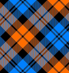 Orange and blue tartan diagonal seamless pattern vector
