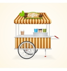 Coffee market cart vector