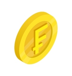 Gold coin with franc sign icon isometric 3d style vector