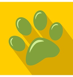 Green paw print icon vector