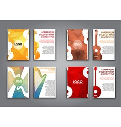 A set of brochures with polygonal musical vector
