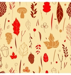 Seamless pattern with leaf berries blades vector