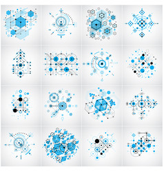 Bauhaus art composition set of blue modular vector