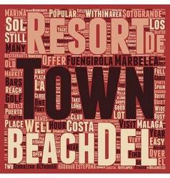Beach front Resorts of the Costa del Sol text vector image vector image