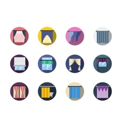 Blinds and curtains color round flat icons vector