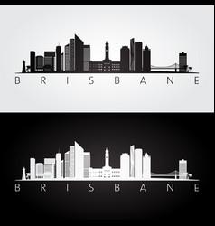 Brisbane skyline and landmarks silhouette vector