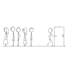 Cartoon of waiting in line or queue or looking vector