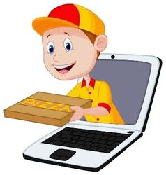 Cartoon pizza delivery online vector