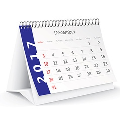 December 2017 desk calendar - vector