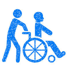 Disabled person transportation grunge icon vector