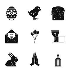 easter day icon set simple style vector image
