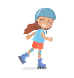 Girl with long brown hair in helmet roller skating vector