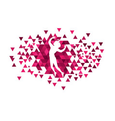 girls with polygon design vector image