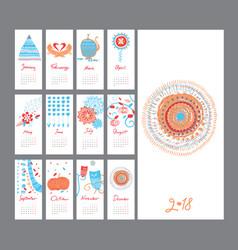 Hand draw mini calendar 2018 vector