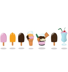 Ice Creams and a Milk Shake vector image