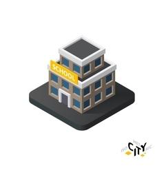 Isometric school icon building city infographic vector image
