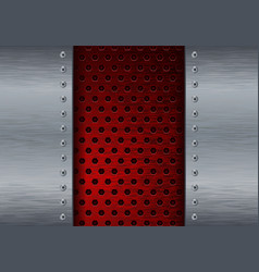 Metal background with red perforation vector