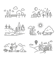 Nature landscape outline icons with tree plants vector
