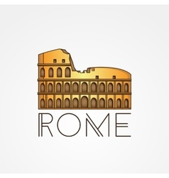 One line minimalist icon of coliseum rome vector