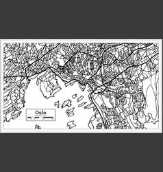 Oslo norway map in black and white color vector