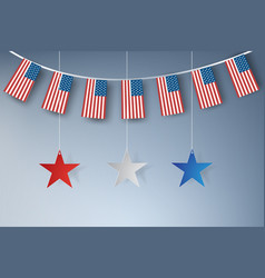 Paper art of american stars banners template vector