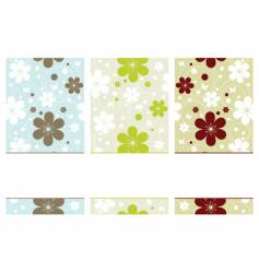 retro banners with flowers vector image vector image