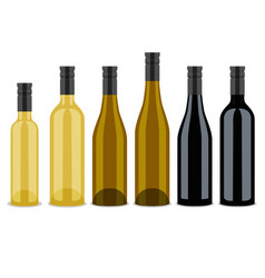 set of bottles of wine flat design vector image vector image