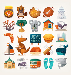 Stickers with sights and famous elements of vector